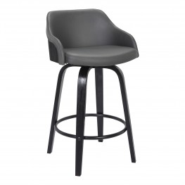 bar stool chair grey bathtub baby barstools alec contemporary 26 counter height swivel barstool in black brush wood finish and faux