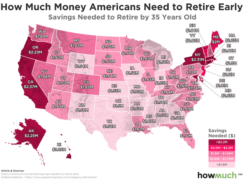 Map Monday, How much money to buy happiness and retire early?