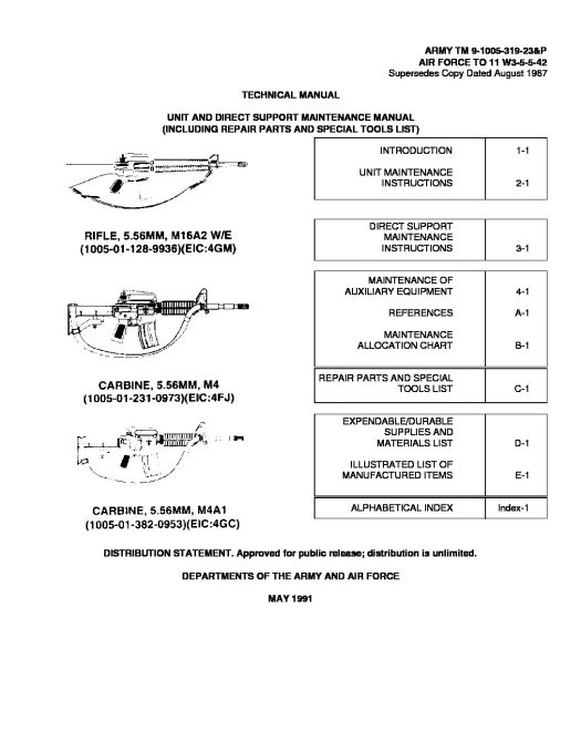 ARMY TM 9-1005-319-23&P  M16 MAINTENANCE MANUAL