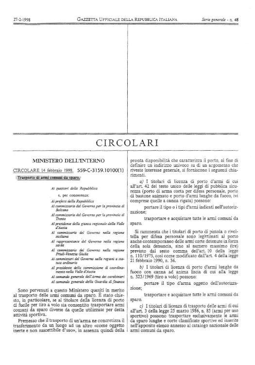 Circolare 599/C-3159.10100(1) del 14 febbraio 1998 - Trasporto di armi comuni da sparo