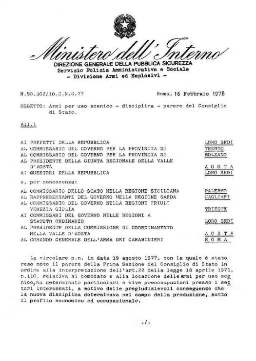 Circolare n. 50.302/10.C.N.C. del 16 febbraio 1978 - Armi ad uso scenico - disciplina - parere del Consiglio di Stato
