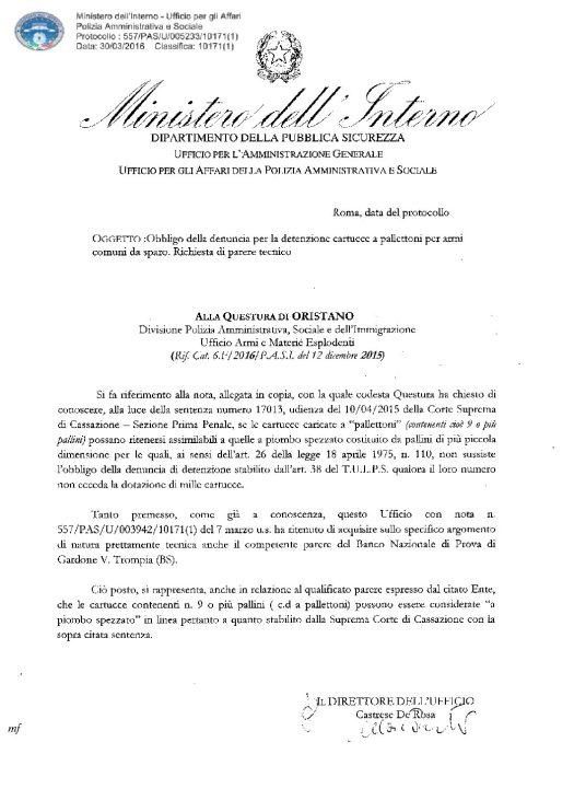 Circolare 577/PAS/U/005233/10171(1) del 30 marzo 2016 - Obbligo della denuncia per la detenzione di cartucce a pallettoni per armi comuni
