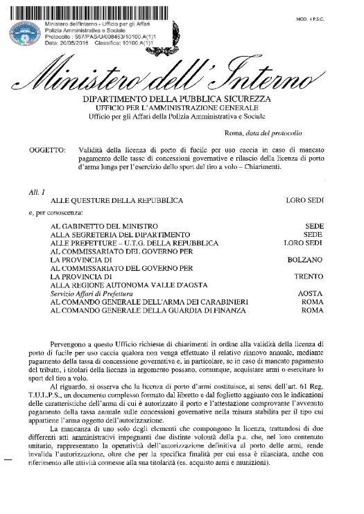 Circolare 577/PAS/U/008463/10100.A(1)1 del 20 maggio 2016 - Validità della licenza di porto fucile per uso caccia in caso di mancato pagamento delle tasse di concessioni governative