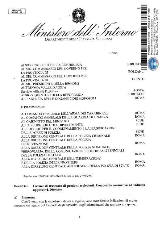 Circolare 557/PAS/U/007575/XV.C.(68) del 29 maggio 2018 - Licenze di trasporto di prodotti esplodenti. Compendio normativo ed indrizzi applicativi. Direttive