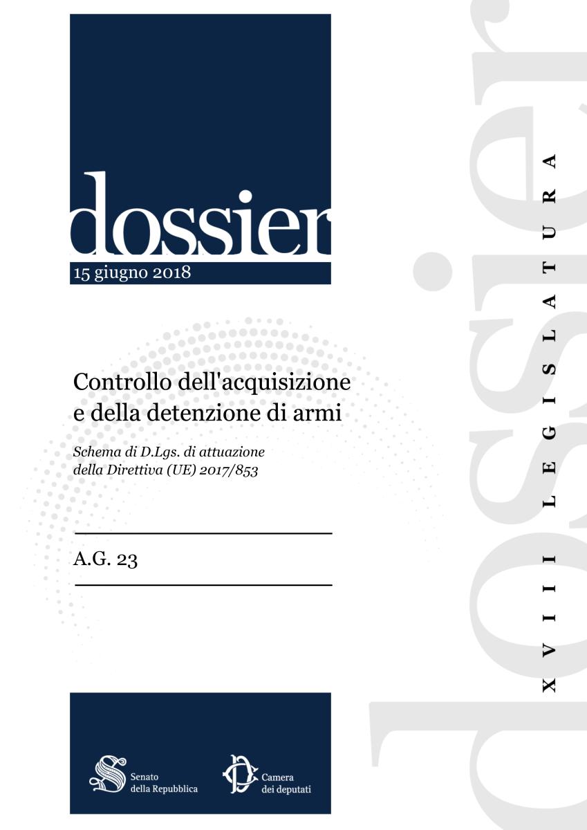 Recepimento (UE) 2017/853 – Il Dossier del Senato