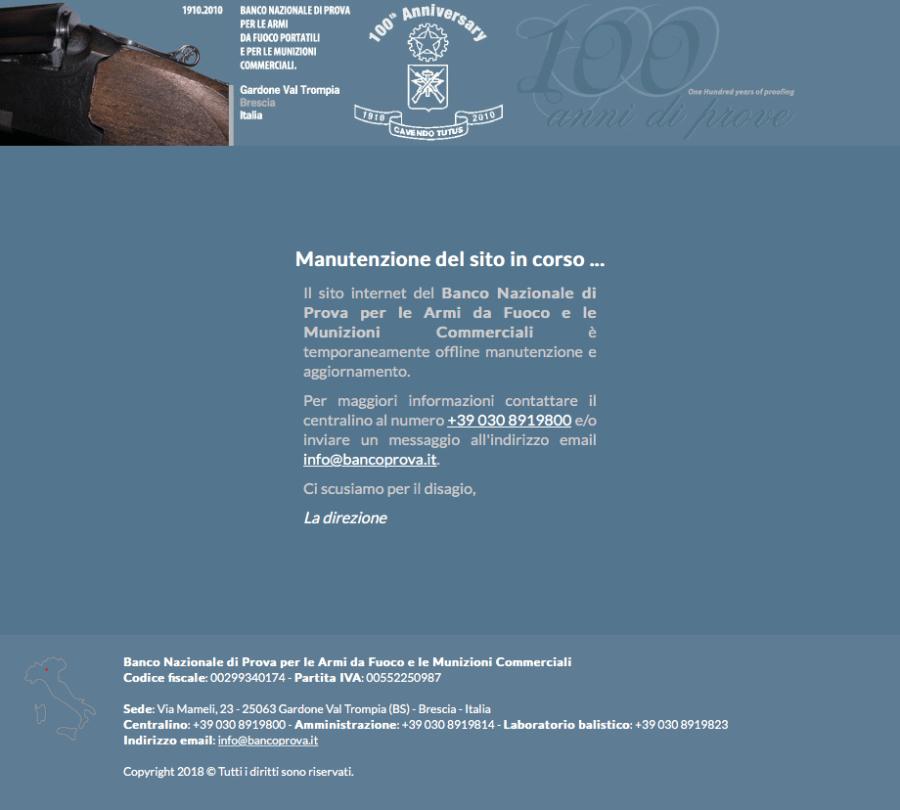 Banco di Prova - Manutenzione del sito in corso ...