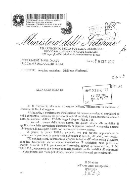 Circolare 557/PAS/E/021549/10100.A.50 del 6 settembre 2012 - Acquisto munizioni richiesta chiarimenti