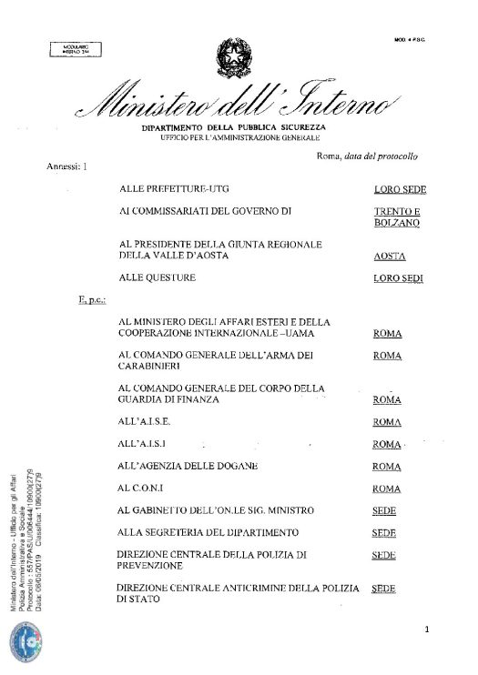 Circolare 557/PAS/U/006444/10900(27)9 del 06 maggio 2019 - Decreto Legislativo  10 agosto 2018, n.104, recante