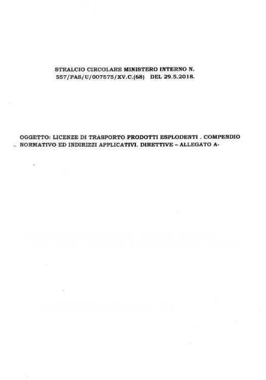 Stralcio circolare 577/PAS/U/007575/XV.C.(68) - Direttive trasporto esplodenti