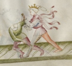 """An example of a Magistro Contrario """"Counter Master"""" wearing a crown and garter to denote his peadgogical position - from the dagger section of Florius de Arte Luctandi"""