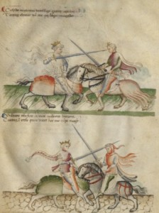 """A page of equestrian or """"a cavallo"""" techniques from Florius de Arte Luctandi."""