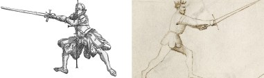 Fig 4: Only So Many Ways to Hold a Sword. The Long Guard as seen in the Liechtenauer (Langenort) and dei Liberi (Posta Longa) traditions.