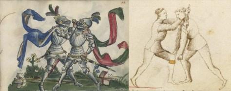 A triangle lock and throw with the dagger, corresponding to dei Liberi's bastoncello play.