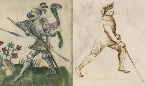 """Porta di Ferro Mezzana with the spear. Using the short spear in a series of """"offline"""" guards occurs in only a few German sources, and the Gladiatoria guards, even the way they and the attackers they oppose are depicted, is nearly identical to those in il Fior di Battaglia."""