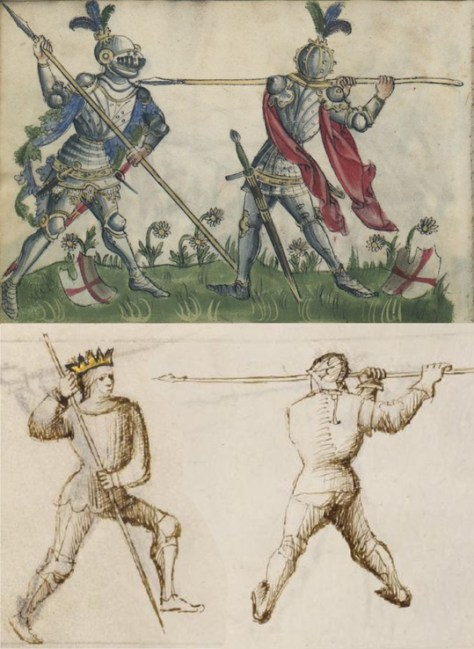 """Tutta Porta di Ferro with the spear. Using the short spear in a series of """"offline"""" guards occurs in only a few German sources, such as Talhoffer's 1459 Ms. However, the Gladiatoria guards, even the way they and the attackers they oppose are depicted, is nearly identical to those in il Fior di Battaglia."""