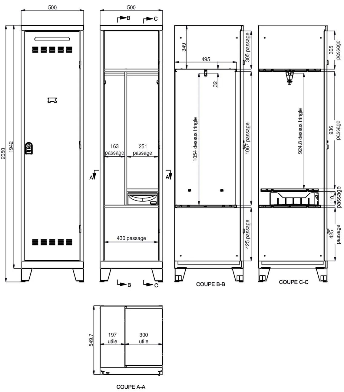 Vestiaire Pompier 1 Case Armoire PLUS