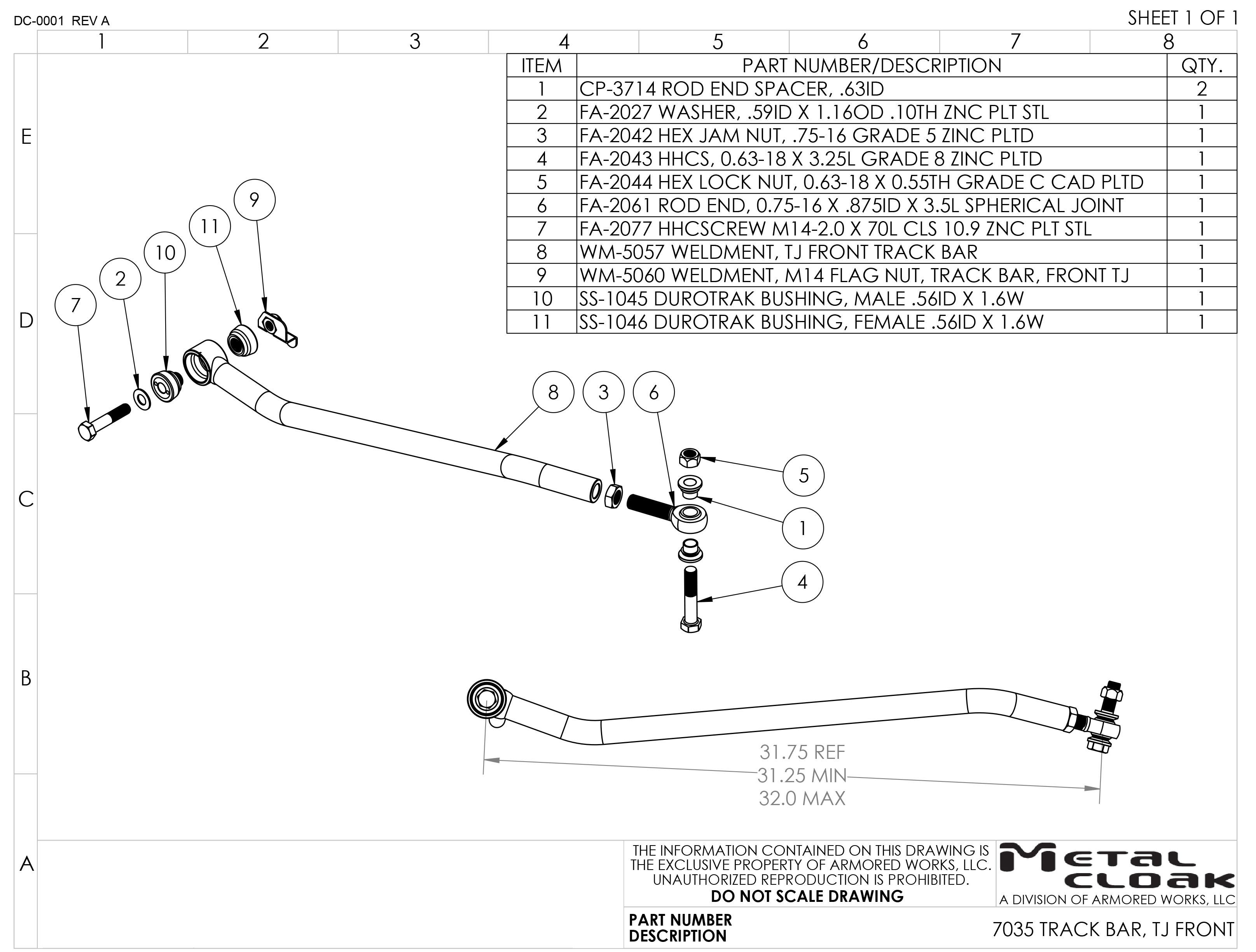 TJ/LJ Jeep Wrangler Solid Chromoly Front Track Bar