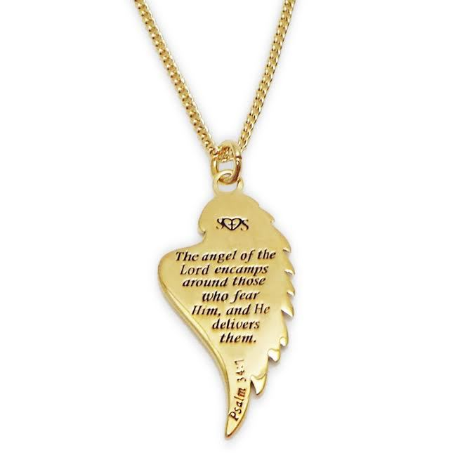 Gold Angel Wing Necklace With Scripture ARMOUR IN TRUTH