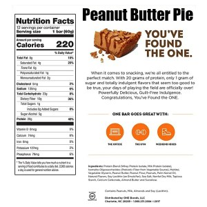 OhYeah One Bar 60g Single Peanut Butter Pie Nutrition Facts ArmourUP Asia Singapore