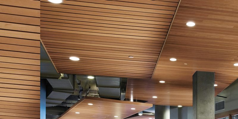 Solid Linear Wood Grid Ceiling System Homedecoratingss Co