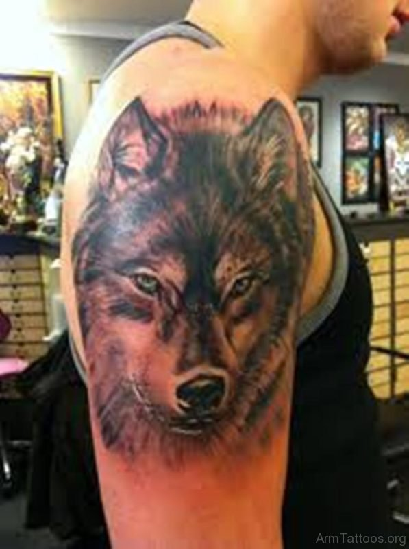 Wolf Upper Arm Tattoos For Men