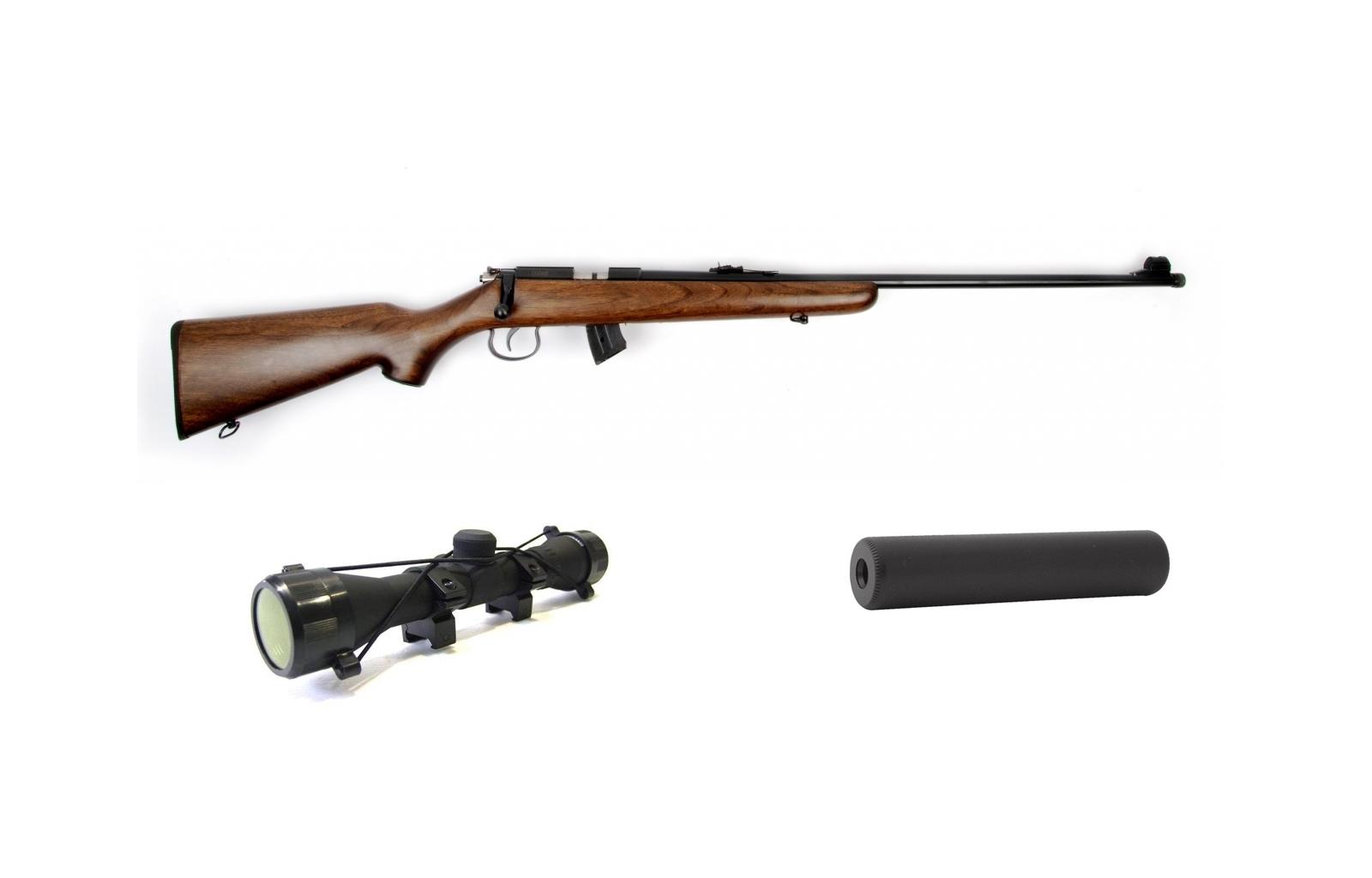 Kit carabine 22LR JW15 Bois Silencieux + Lunette