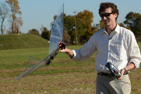 John W. Gerdes III, mechanical engineer at the Vehicle Technology Directorate, prepares to fly Robo-Raven at Aberdeen Proving Ground's Spesutie Island Robotics Research Facility on Chesapeake Bay, Md., Nov. 3, 2015.