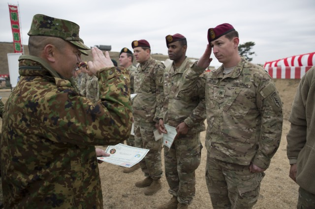 The allied Paratroopers made history, jumping together for the first time at the 50th annual JGSDF First Jump Ceremony, which celebrates the first training event of the new year for the Japanese Paratroopers -- also known as the Narashino Airborne Brigade (習志野空挺団).
