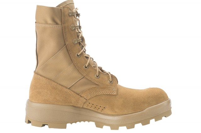 The Army Jungle Combat Boot, under development now, features a heel with a low-height heel to prevent snags on things like vines in a jungle environment; additional drainage holes to let water out if it becomes completely soaked, speed laces so that Soldiers can don and doff the boots more quickly, a redesigned upper to make the boots less tight when they are new, an insert that helps improve water drainage, a lining that helps the boot breath better and dry faster; a ballistic fabric-like layer under a Soldier's foot to help prevent punctures, and a foam layer between the rubber sole and the upper to provide greater shock absorbing capability. The JCB will be issued this spring and summer to two full brigade combat teams in Hawaii, part of the 25th Infantry Division, for evaluation.