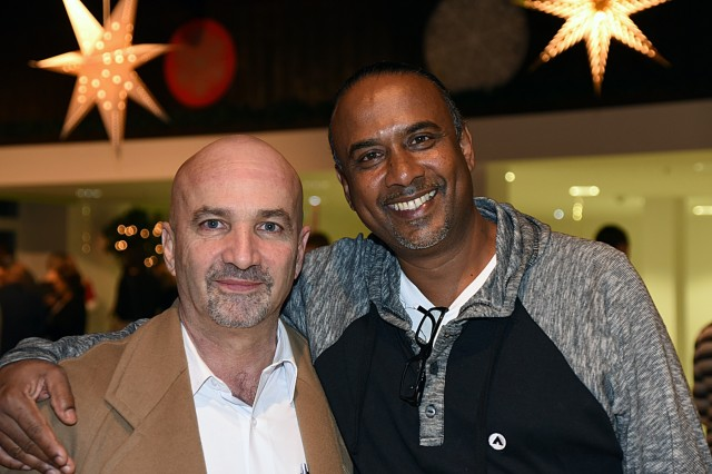 Mariano Figueres Olsen (left), director for the National Intelligence Agency and Tactical Unit, and the secretary of the National Security Council in Costa Rica, and Inspector George Laldeo, chief of operations at the Transnational Organized Crime Unit in Trinidad and Tobago, enjoy the alumni mini-culture night held Feb. 22 during the Global Countering Transnational Organized Alumni Community of Interest Workshop at the George C. Marshall European Center for Security Studies in Garmisch-Partenkirchen, Germany. (Marshall Center photo by Christine June)
