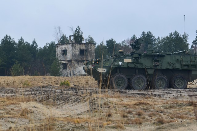 An M1135 Stryker Nuclear Biological Chemical and Reconnaissance Vehicle checks for potential threats during training at Swietoszow Training Area in Swietoszow, Poland Mar. 7, 2017. Operation Atlantic Resolve, a U.S. led effort in Eastern Europe that demonstrates U.S. commitment to NATO and dedication to enduring peace and stability in the region. (U.S. Army photo by Sgt. Justin Geiger)