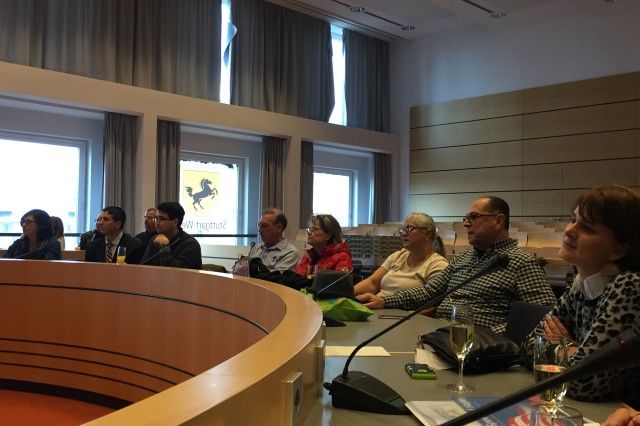 Community members sit in the seat of government during the Capital City Visitation Program, a way for participants to learn how the German political system works, Dec. 9, 2016.