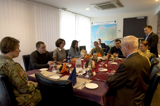 """Ukrainian Parliamentarians meet with U.S. Army Europe's senior female leaders to share ideas and discuss the history of women in the military, March 8. At the end of the two-day visit, Syroyid expressed her gratitude to U.S. Army Europe. """"Although the conditions are very challenging in Ukraine, this continued partnership brings me hope for the future of my country,"""" said Syroyid."""