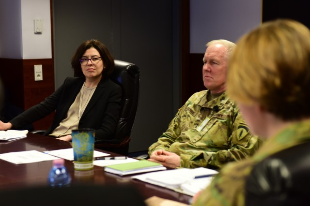 Vice Speaker of the Parliament of Ukraine, Oksana Syroyid, received a military law briefing from Col. Gail Curley, the staff judge advocate for U.S. Army Europe, Mar. 9. The two-day event focused on providing U.S. Army Europe's perspective on the civilian oversight of the military as well as current and future military training and exercises in Ukraine.