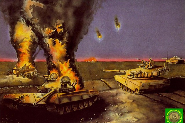 "Illustration titled ""Night Attack"" by Mario Acevedo, U.S. Army Center for Military History."