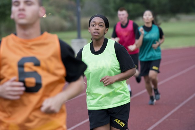 Soldiers conduct a 2-mile run as part of a pilot for the Army Combat Fitness Test, a six-event assessment designed to reduce injuries and replace the current Army Physical Fitness Test.