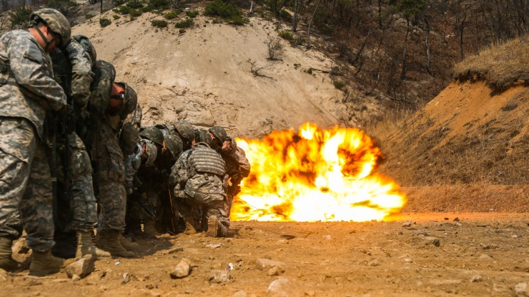 U.S. Army Soldiers, from the 25th Infantry Division and soldiers from the Republic of Korea army participate in demolitions tactics and procedures during the joint exercise Foal Eagle near the DMZ, South Korea.