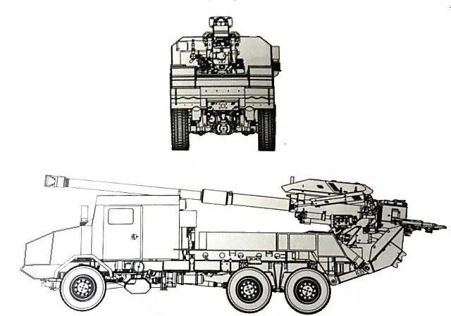 Kryl 155mm 6x6 self-propelled howitzer HSW technical data