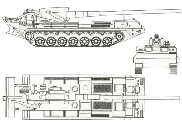 2S7 Pion M-1975 SO-203 203mm self-propelled gun technical