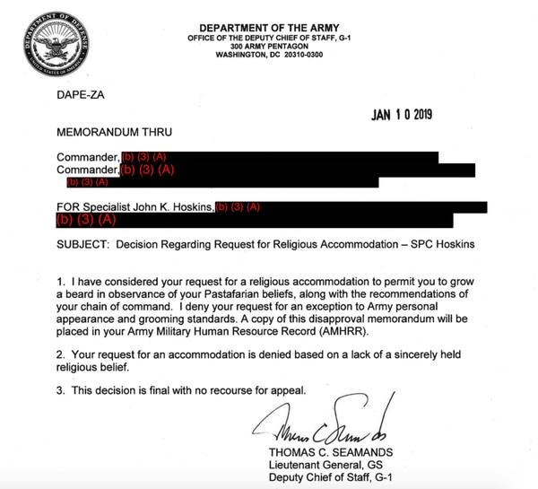 The Army's official response to Spc. Hoskins' request to grow a beard in observance of his believe in the Church of the Flying Spaghetti Monster. (Army)