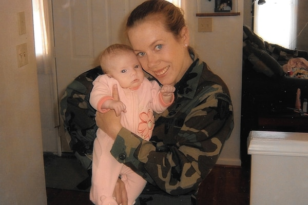 Sgt. Kristen Emery was an Army medic with the 82nd Airborne Division at Fort Bragg when she gave birth to her daughter in 2004. Her daughter has some chromosomal abnormalities. Emery wonders if exposure at Patrick Air Force Base caused both her cancer and her daughter's health issues. (Courtesy of Kristen Emery)