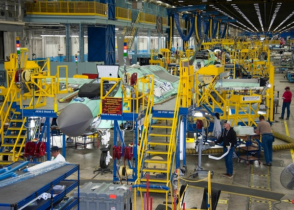 Lockheed Martin employees work on the F-35 Joint Strike Fighter production line in Fort Worth, Texas. (Defense Contract Management Agency)