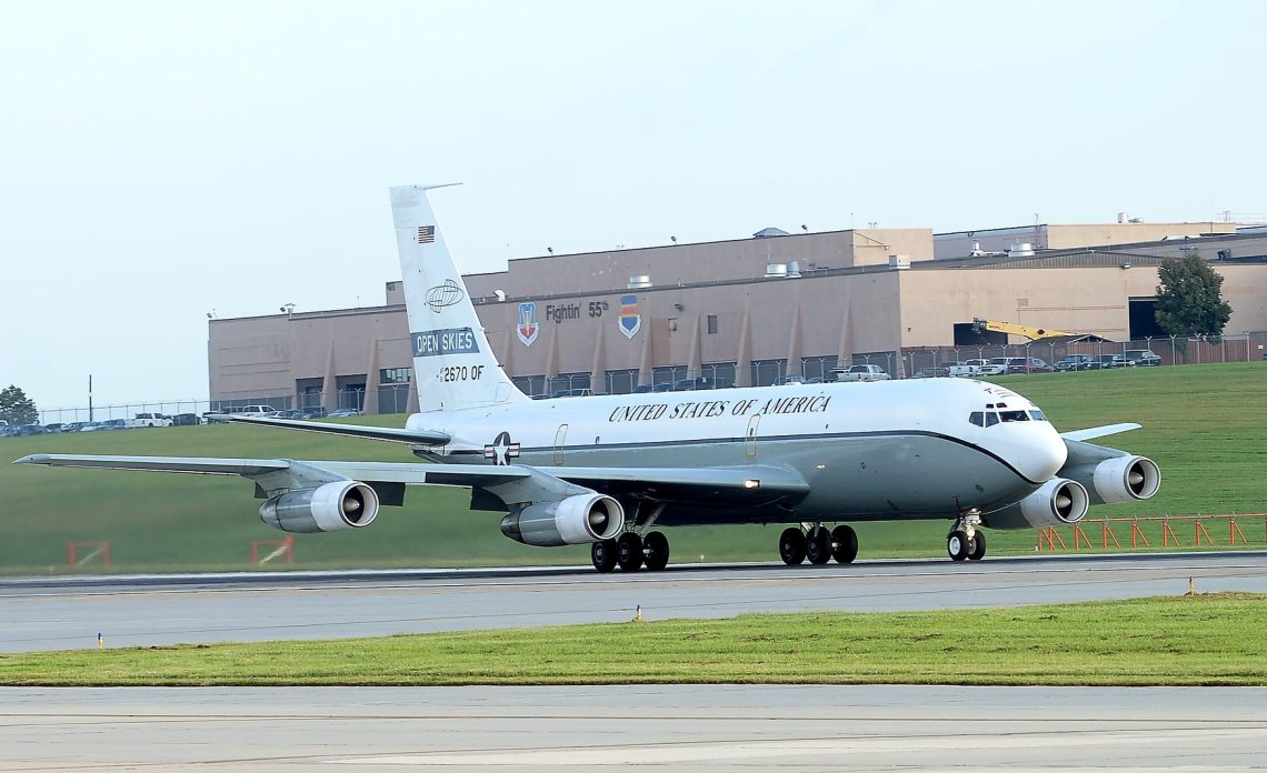 An OC-135 aircraft used as part of the Open Skies Treaty takes off Sept. 14, 2018, from Offutt Air Force Base, Neb. (Charles J. Haymond/U.S. Air Force)