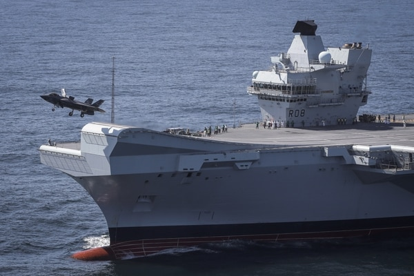 An F-35 takes off from the British Royal Navy aircraft carrier HMS Queen Elizabeth. (Dane Wiedmann/Lockheed Martin)