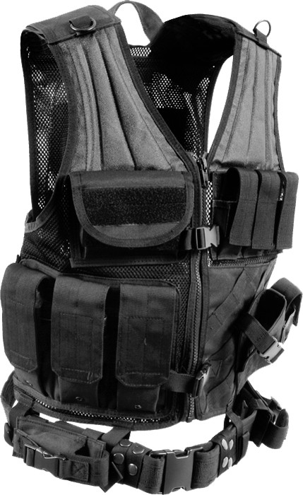 Black Military Tactical Cross Draw Vest