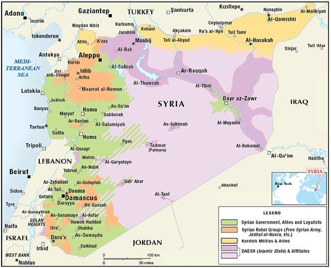 Figure 2. Syrian Civil War: Territorial Control Map as of November 2015