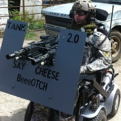 Tank Chair Wheelchair Rustic Tables And Chairs Airsoft S Handicapem Borec Na Vozíku A Jeho Projekt