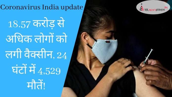 Coronavirus India update 18.57 करोड़ से अधिक लोगों को लगी वैक्सीन