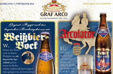 Etikettendesign Weißbierbock Graf Arco