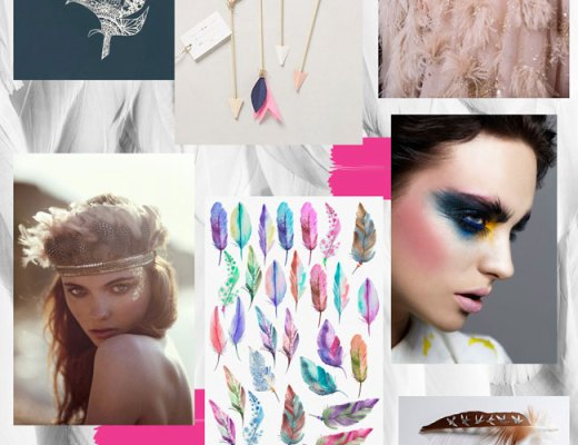 Decorative feather trend mood board